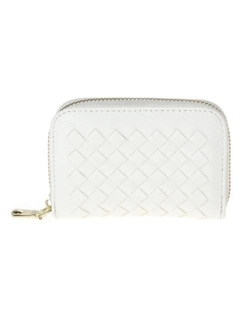 Braided Zip Around Multi Slot Wallet -White