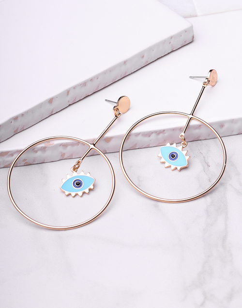 Evil Eye Enamel Drop Hoop