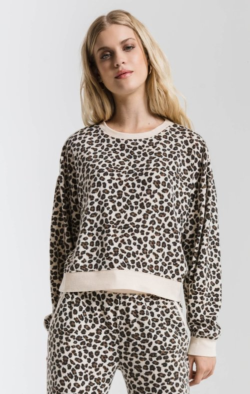 Z Supply ZP193965 BRUSHED LEOPARD PULLOVER