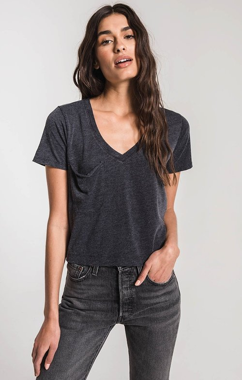 Z Supply ZT194265 CLASSIC SKIMMER CROP TEE BLACK