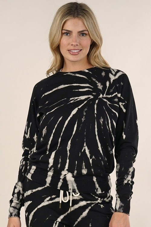 Tie Dye Butterfly Wash Pullover Black/Natural