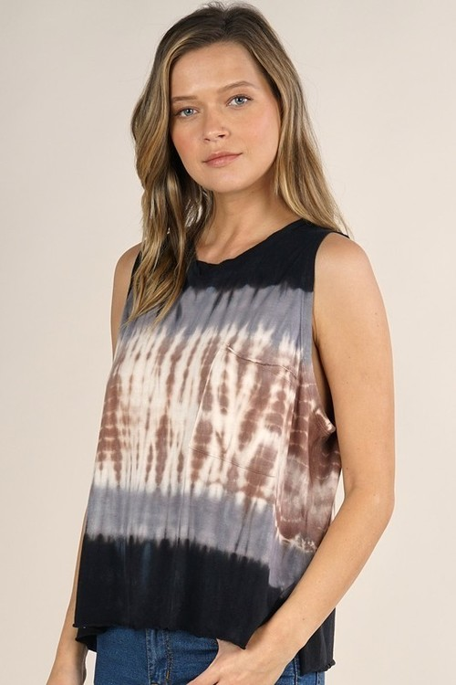 Jersey Color Block Tie Dye Tank Navy/Brown