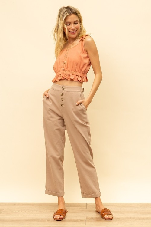 Button Front Loose Fit Trousers