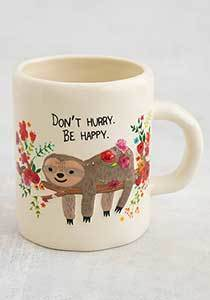 Embossed Floral Grey Sloth Mug