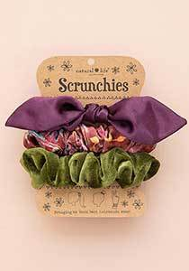 Purple Bow set 3 Scrunchies