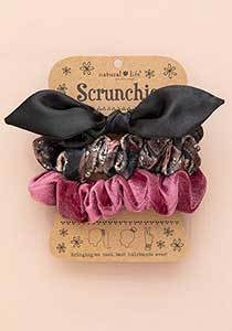 Set 3 Black Bow Scunchies