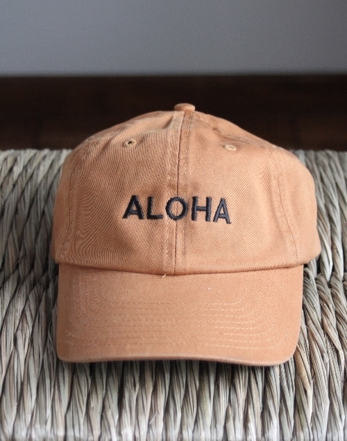 Aloha Embroidered Hat - Mustard