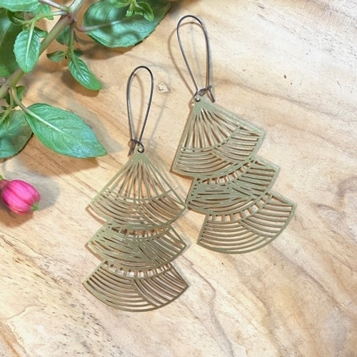 Siri Fan Brass Earrings