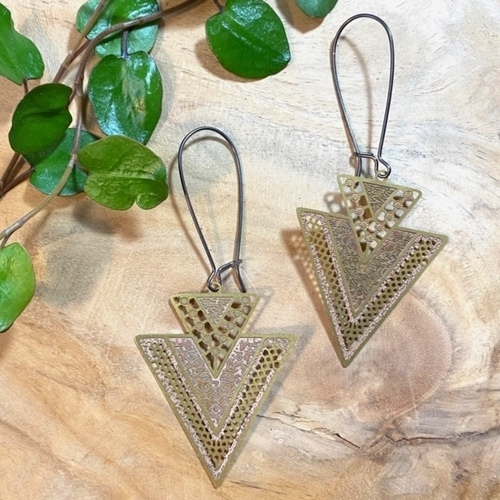 Mel Double Arrow Brass Earrings