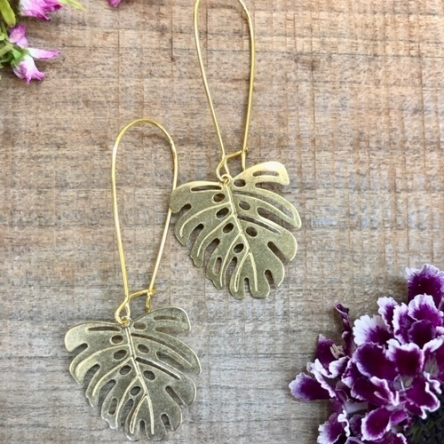 Reece Palm Leaf Brass Earrings