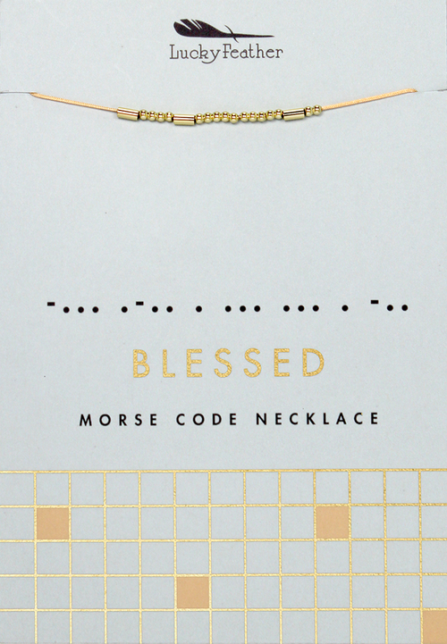 Morse Code Gold Necklace - Blessed