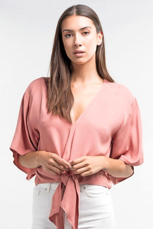 Twill Tie Front Kimono Sleeve Blouse