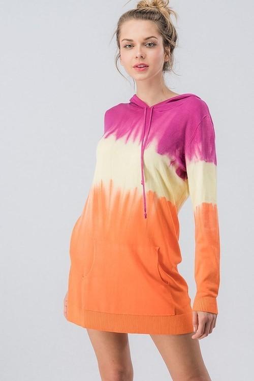 Dip Dye Sweater Knit Hoodie