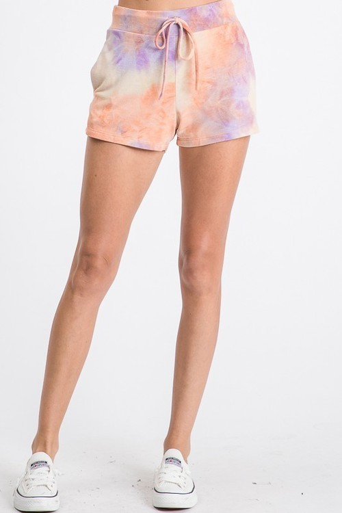 Tie Dye Drawstring Short Lavender/Orange