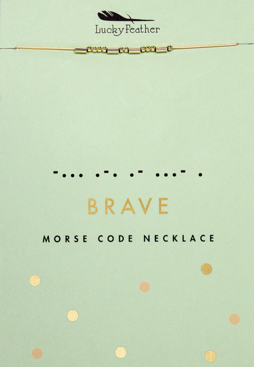 Morse Code Gold Necklace - Brave