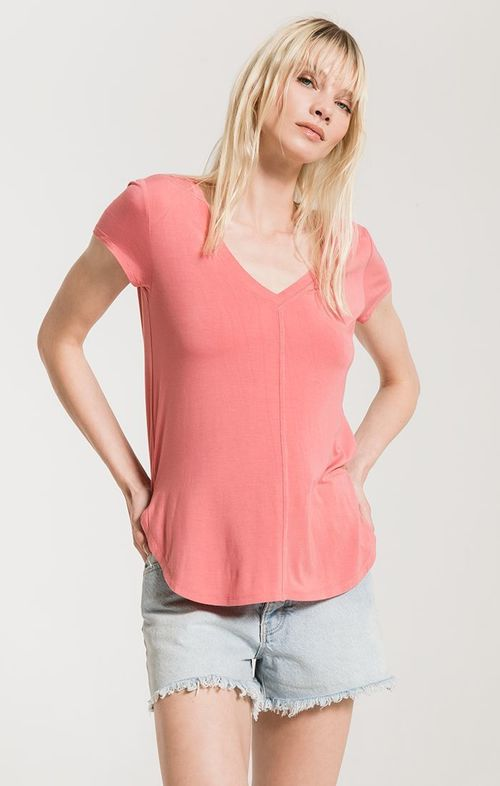 Mya V-Neck Tee Slate Rose