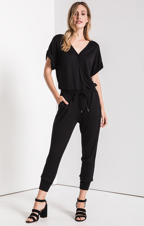 Wrap Front Jumpsuit Black