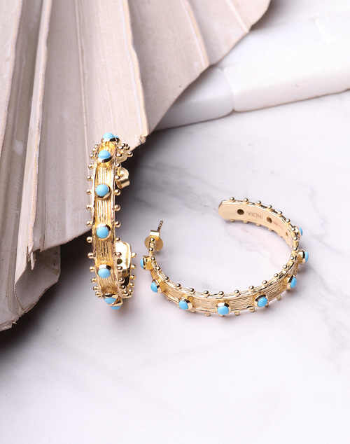 Etruscan Hoop - Turquoise 18K Plated