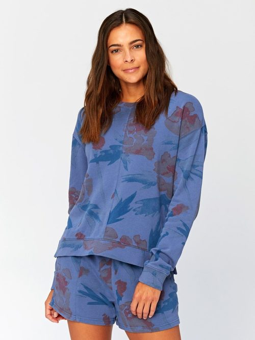 Effie Floral Printed Pullover Chambray