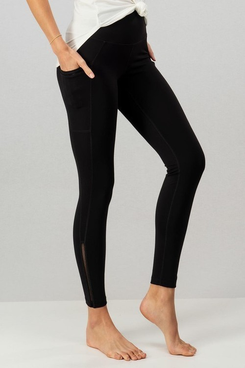Mesh Trim Side Pocket Leggings Black