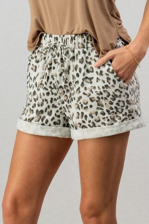 Leopard Print Folded Hem Shorts