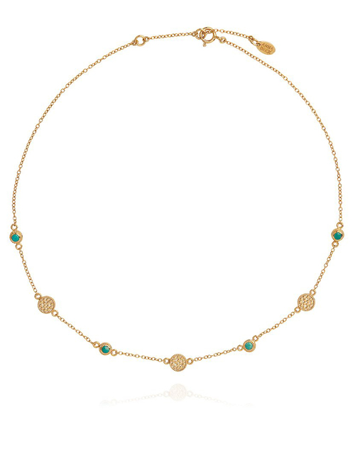 Turquoise Multi Disc Station Necklace