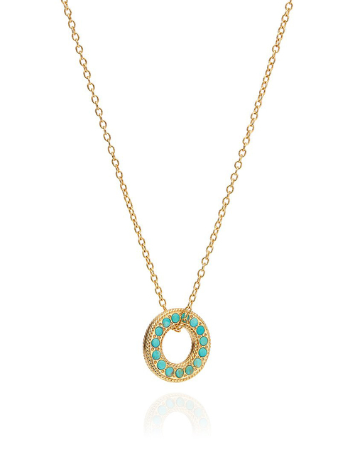 Turquoise Pave Open Circle Necklace
