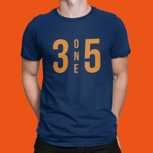 3 One 5 T-Shirt Navy/Orange