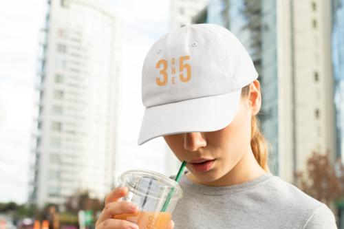 3 One 5 Dad Hat White/Orange