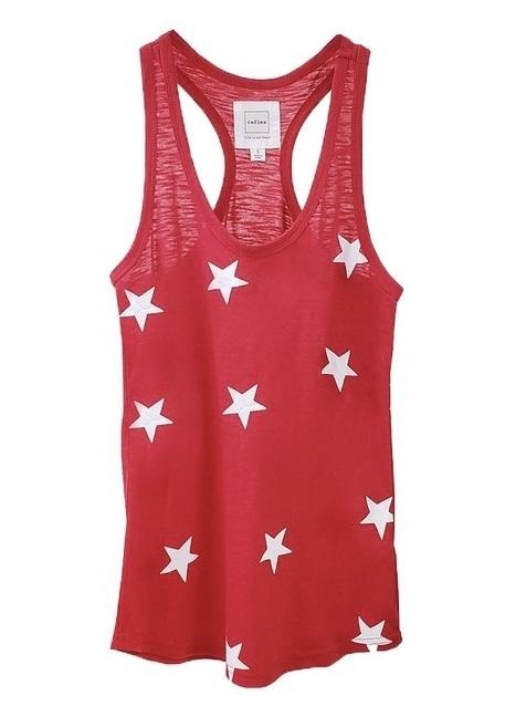 Red Soft Cotton Star Racerback Tank