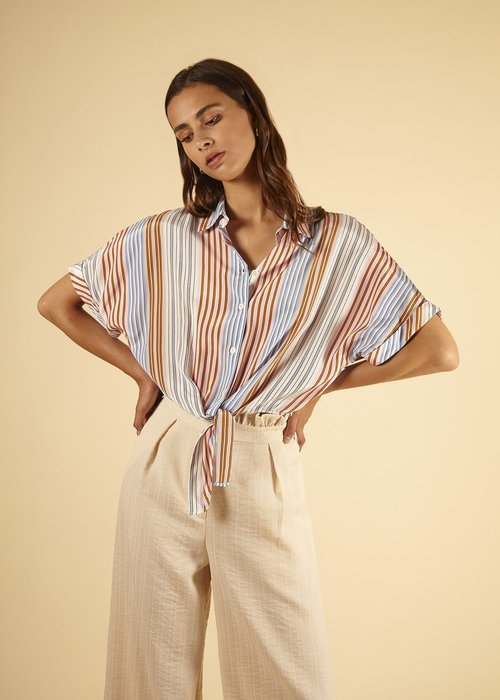 Woven Button Front Striped Blouse Blue/Pink