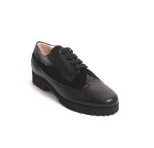 Black Leather Suede Lace-Up Loafers Comfort Shoes