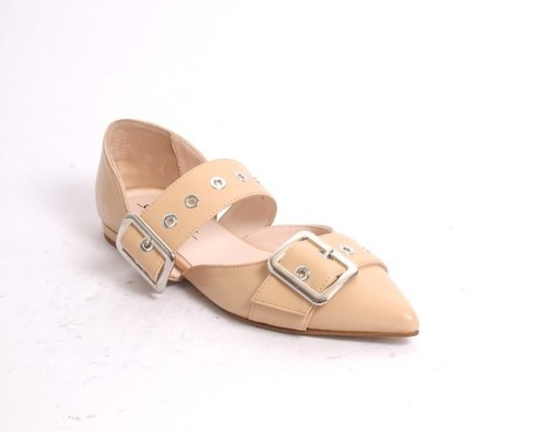 Beige Silver Leather Buckles Pointy Flat Shoes