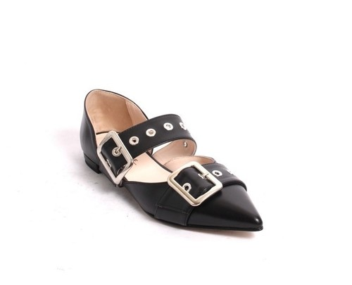 Black Silver Leather Buckles Pointy Flat Shoes