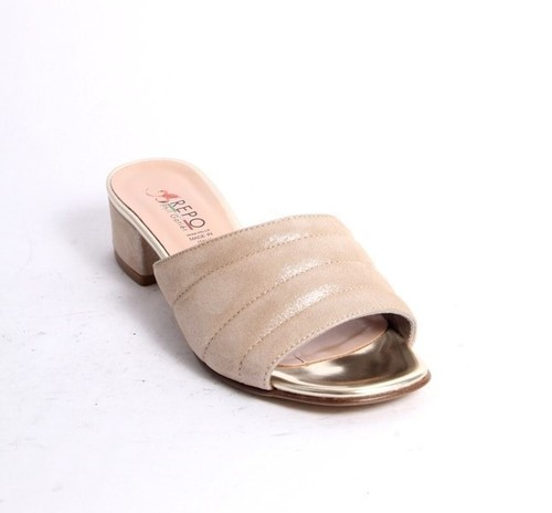 Beige Gold Nubuck Leather Slide Heel Sandals