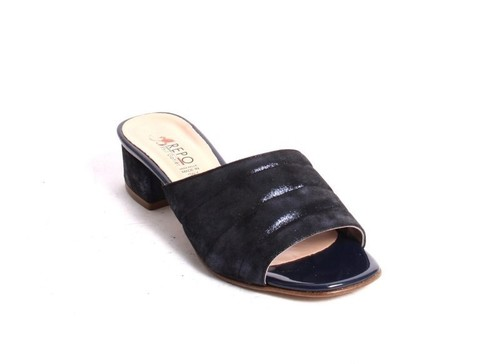 Navy Nubuck Leather Slides Heels Sandals