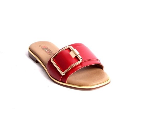 Red Gold Brown Leather Slides Flat Sandals