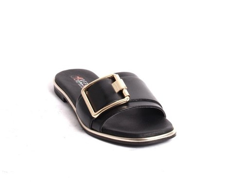 Black Gold Leather Slides Flat Sandals