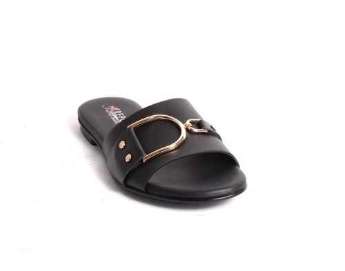 Black Gold Leather Slides Flats Sandals