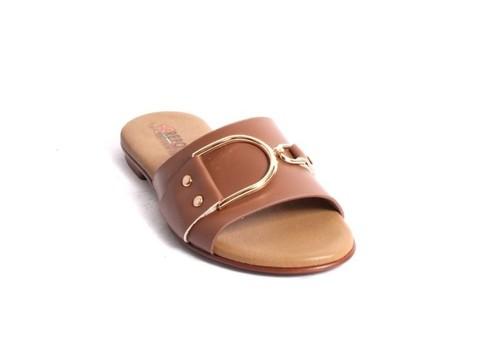 Brown Gold Leather Slides Flats Sandals