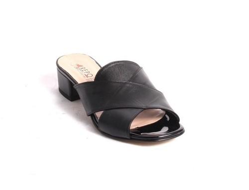Black Leather Slides Heels Sandals