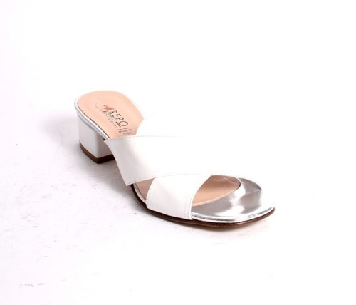 White Silver Leather Slides Heels Sandals