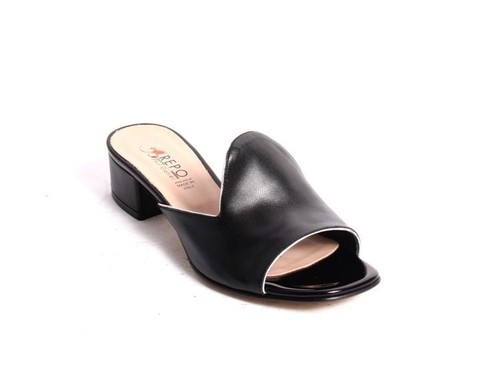 Black Silver Leather Slides Heels Sandals