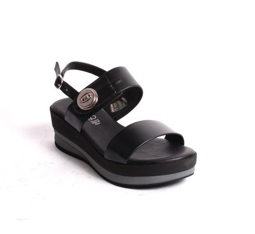 Black Leather Slingback Platform Sandals