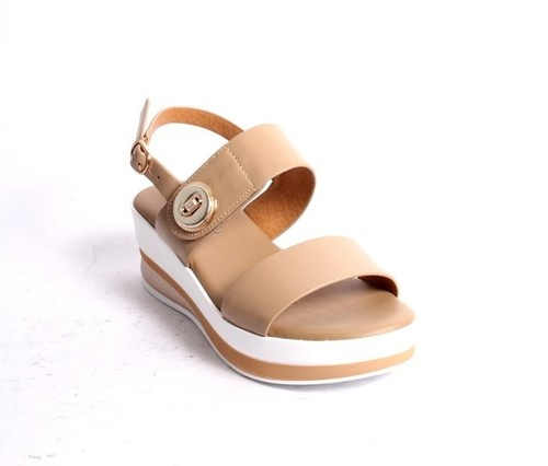 Beige Leather Slingback Platform Sandals