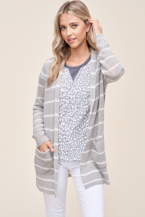 Pomona Striped Open Front Cardigan