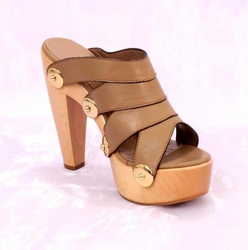 Beige Leather Platform / Heels Sandals