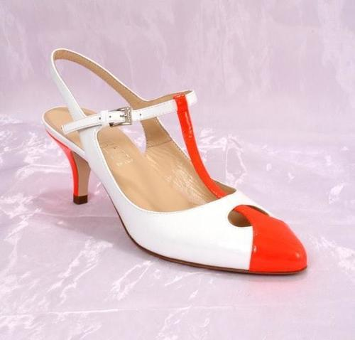 White / Orange Patent Leather Sandals