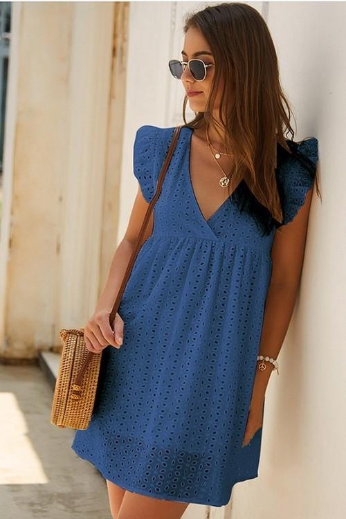 Plunging Surplice A Line Mini Dress