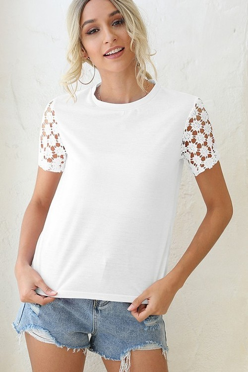 To Your Heart Lace Sleeve Tee